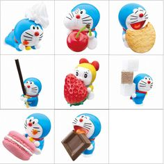 JAPAN DORAEMON RE-MENT SET OF 8 SWEET DESSERT CANDY COOKIE FIGURES about H3.5cm