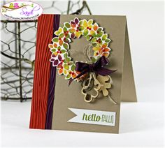 Sandi MacIver: Stamping with Sandi - Wondrous Wreath and the Baby Wipe Technique - 9/9/14 (Pin#1: Fall... Pin+: Wreaths; Woodgrain)
