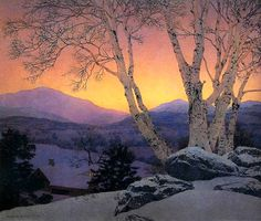 """Birches in Winter - Christmas Morning"" 1946 by Maxfield Parrish,  (1870-1966) American painter and illustrator."