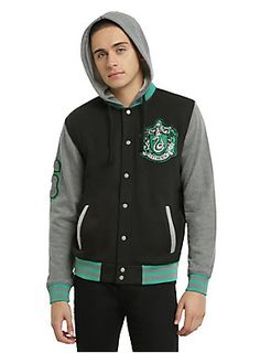 8f991ab42e80a Black  amp  grey heather hoodie from Harry Potter featuring a Slytherin  varsity jacket style design