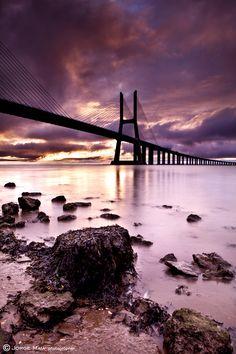 The break of dawn,Vasco da Gama bridge,Lisboa, Portugal