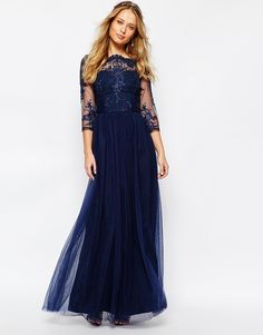 Image 4 of Chi Chi London Bardot Neck maxi Dress with Premium Lace and Tulle Skirt