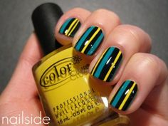 Yellow, green, black stripes