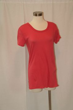 Enza Costa Loose Jersey Short Sleeve Crew T in Red Ochre NWT Retail $103