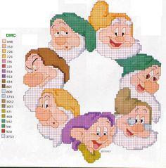 Borduurpatroon Tekenfilm Allerlei *Cross Stitch Cartoon Drawing ~7 Dwergen in cirkel~