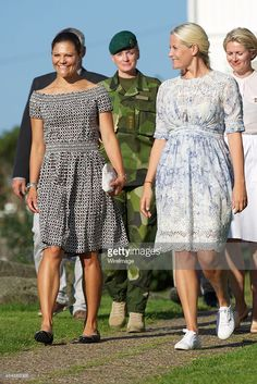 Crown Princess Victoria of Sweden and Crown Princess Mette-Marit of Norwaytake part in Climate Pilgrimage on August 22, 2015 in Stromstad, Sweden.  (Photo by Ragnar Singsaas/WireImage)