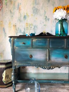 Bohemian Rustic Chic Buffet in Teal blue #paintedfurniture #affiliate