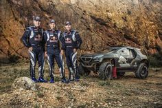 Carlos Sainz, Cyril Despres and Stephane Peterhansel pose for a portrait during the #Peugeot 2008 DKR test.
