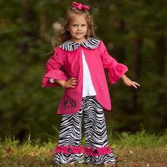 Hot Pink Corduroy Jacket Zebra Ruffle Pant Set.