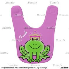 Frog Princes in Pink with Monogram Baby Bib