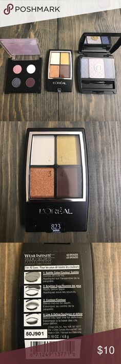Trio of Eyeshadow L'Oreal 823 bronzes in sealed package. Sensuous shadows with maker glide pigments in Denham, smoke, indigo by beauty control. Color design sensational effects eyeshadow. Top has broken as shown in last picture. Makeup Eyeshadow