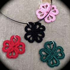 Tatted Lace Pendant - Hearts and Clover - Choose Your Color