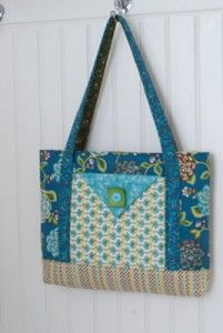 """Tote Couture"" made with fabric from the Halo collection by Gudrun Eria for Red Rooster Fabrics."
