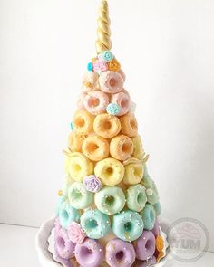 unicorn donut cake tower donut unicorn cake + donut unicorn cake birthday + unicorn and donut cake + unicorn donut cake tower + donut and unicorn birthday cake + diy unicorn donut cake + donut grow up unicorn cake + unicorn donut smash cake Donut Party, Donut Birthday Parties, Donut Birthday Cakes, Birthday Stuff, Party Party, Mini Cakes, Cupcake Cakes, Fest Des Fastenbrechens, Donut Tower
