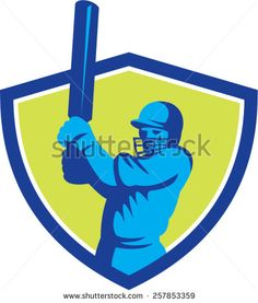 Illustration of a cricket player batsman with bat batting set inside shield crest done in retro style on isolated background. - stock vector #CricketWorldCup #retro #illustration