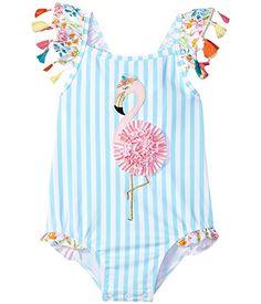 Mud Pie Flamingo Tassel Swimsuit (Toddler)