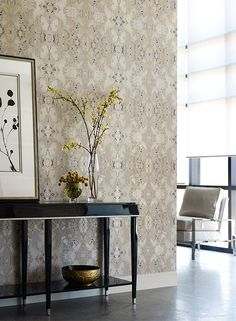 301fe189e19 Inner Beauty Wallpaper in Silver and Cream design by York Wallcovering