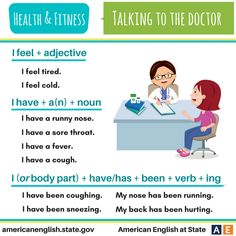 Awesome Health & Fitness: Talking to the Doctor. English Prepositions, English Sentences, English Phrases, English Idioms, English Words, English Vocabulary, English Grammar, English Language, Learn English Speaking