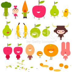 Foody friends fruit and vegetable character crunch illustration royalty-free stock vector art