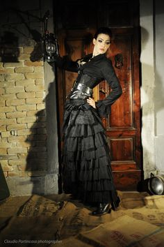 This beautiful Victorian black shirt has the  broderie on neckline and cuffs. Gothic damask corset is closed with metal toggles on the front and is laced behind.