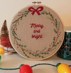 Excited to share the latest addition to my shop: Merry and Bright Christmas Embroidery Embroidery Boutique, Dmc Embroidery Floss, Embroidery Hoop Art, Christmas Embroidery Patterns, Embroidery Patterns Free, Christmas Fabric Crafts, Handmade Christmas, Red Christmas, Christmas Decorations