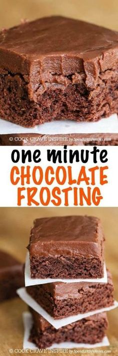 This ONE Minute Easy Chocolate Frosting recipe is likely the quickest frosting you've ever made! It comes together so fast and sets like a dream making this a go-to quick frosting recipe. It's perfect for topping cakes, brownies and more! by Valerie A. Sawyer