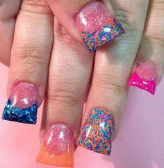 Duck nails Flare Acrylic Nails, Flare Nails, Colorful Nail Designs, Toe Nail Designs, Nails Design, Duck Feet Nails, Toe Nails, Jersey Nails, Sassy Nails