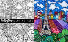 Paris Eiffel Tower coloring art, coloring book, adult coloring book, coloring pages, adult coloring pages, coloring book for adults