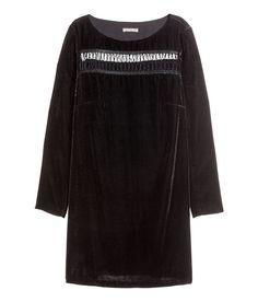 Black velvet dress, elastic loop detail at front and back