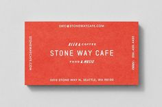 Business card with fluorescent ink detail for Stone Way Cafe designed by Shore