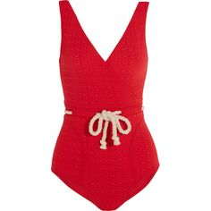 Yasmin rope-detailed stretch-cloqué swimsuit, Lisa Marie Fernandez,... ($445) ❤ liked on Polyvore featuring swimwear, one-piece swimsuits, swimsuit, lisa marie fernandez, red, bathing suit swimwear, low back swimsuit, red swimsuit, swimming costumes and lisa marie fernandez swimwear