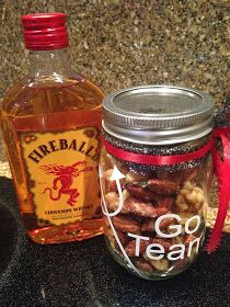 Creative Party Ideas by Cheryl: Heat up your next tailgate…. Fireball Recipes, Whiskey Recipes, Alcohol Recipes, Drinks Alcohol, Nut Recipes, Snack Recipes, Vodka Potato, Candied Pecans, Carmelized Pecans