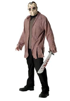 Friday the 13th Jason Adult Costume includes EVA mask and jacket with inset shirt.