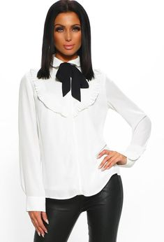 50fb7f4824 Cafe Society White Long Sleeve Pussybow Blouse
