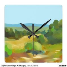 Digital Landscape Painting Clock  Also available on many more products, click the link and type in the name of this design in the search bar on my products home page to see them all!  #landscape #plein #air #impressionism #digital #painting #paint #green #yellow #blue #sky #sun #shine #field #tree #mountain #air #air #nice #clean #crisp #cool #sooth #soothing #relax #calm #peace #peaceful #horizon #perspective #atmosphere #distance #clock #wall #home #decor #office #space