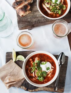 make ahead soup to go with the enchiladas, dip and chips.
