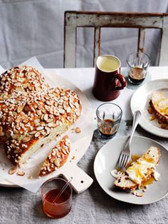 Colomba Pasquale: a soft eggy, sugar-crusted Italian bread.. filled with candied fruit & almonds. Serve with marscapone & honey.