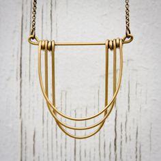 draped brass necklace