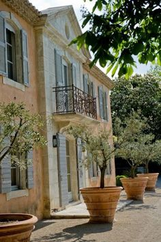 French Country House, French Farmhouse, Country Life, Country Houses, French Decor, French Country Decorating, Architecture Renovation, Potted Trees, Flowering Trees