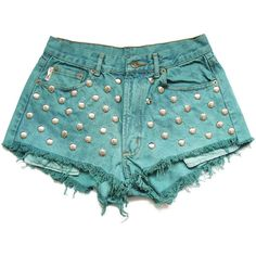 50% SALE Studded high waist shorts L (1.400 RUB) ❤ liked on Polyvore featuring shorts, bottoms, pants, short, high waisted zipper shorts, silver shorts, green shorts, short shorts and high-rise shorts