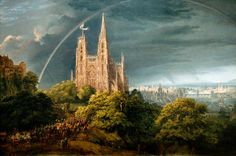 Karl Friedrich Schinkel Gothic Cathedral with Imperial Palace, , Nationalgalerie, Berlin. Read more about the symbolism and interpretation of Gothic Cathedral with Imperial Palace by Karl Friedrich Schinkel. Carl Friedrich, Caspar David Friedrich, Famous Architecture, Gothic Architecture, The River, Medieval City, Art Romantique, Palacio Imperial, Oil Painting Gallery