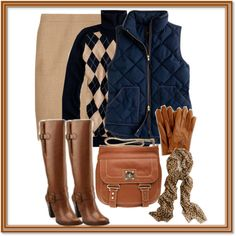 A fashion look from November 2012 featuring argyle sweater, blue vest y pencil skirt. Browse and shop related looks.