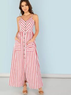 Shop Button Up Pocket Front Striped Cami Dress online. SHEIN offers Button Up Pocket Front Striped Cami Dress & more to fit your fashionable needs. Red Fashion, Women's Fashion Dresses, Dresses Dresses, Cheap Fashion, Fashion Women, Striped Midi Dress, Fit N Flare Dress, Striped Fabrics, Latest Dress