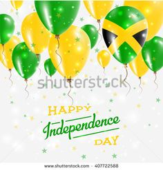 Jamaica Vector Patriotic Poster. Independence Day Placard with Bright Colorful Balloons of Country National Colors. Jamaica Independence Day Celebration.
