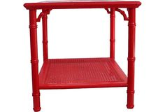 SO cute: Red Lacquer Faux-Bamboo Table on OneKingsLane.com