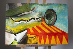 6 / 7    'BLAZENDE KROKODIL'  Acryl op hout / Voor en achter vernist 30 cm breed - 90 cm hoog - 1 cm dik  Kunstenaar: Nalin Roegiers- 6PUG  STARTBOD = 20 euro