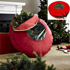 Christmas Wreath Storage Bag 36  Red Holiday Decoration Organizer Zipped Handles & Christmas Wreath Storage Plastic Box with Clear Lid Red 3 Pack Holds ...