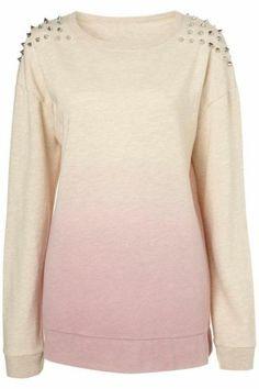 Pink Gradient Rivet Shoulder Round Neck Sweatshirt pictures