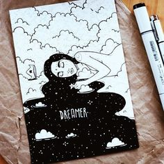 dreamer ☁️⭐️ made with copic sketch marker. - dreamer ☁️⭐️ made with copic sketch marker. Kunstjournal Inspiration, Art Journal Inspiration, Art Inspo, Sketchbook Drawings, Easy Drawings, Art Sketches, Funny Sketches, Sketchbook Ideas, Marker Kunst