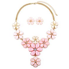 Light Pink Flower Power Statement Necklace Set $38.95 click here to see more www.bellabridalandheirlooms.com